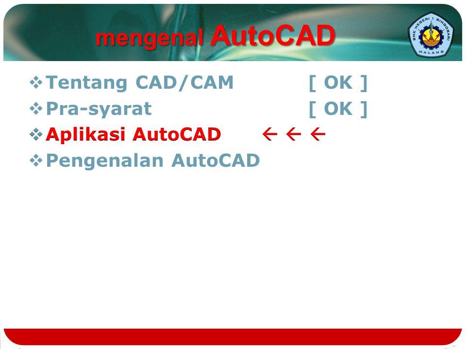 mengenal AutoCAD Tentang CAD/CAM [ OK ] Pra-syarat [ OK ]